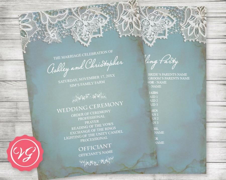 Свадьба - Printable Customized Wedding Program ~ Winter, Vintage Lace, Pale Antique Blue, Rustic, Country Barn Theme, Formal Bride Groom, Anniversary