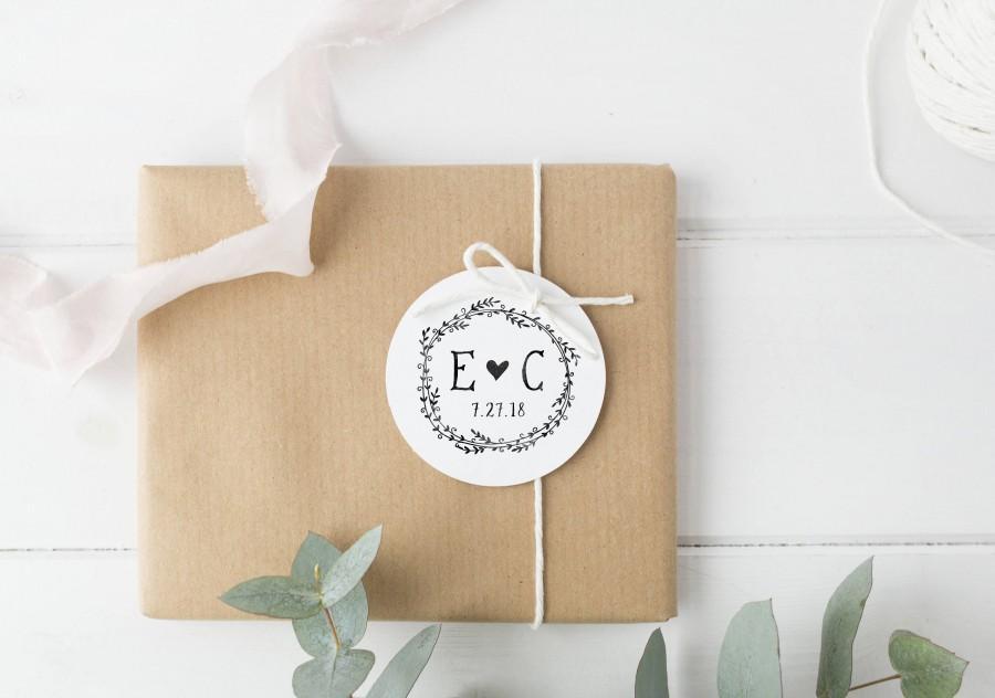 زفاف - Monogram Stamp- Custom Initials Stamp- Wedding Stamp- Wedding Monogram Stamp- Custom Wooden Stamp- Laurel Wreath Stamp- Initials Monogram