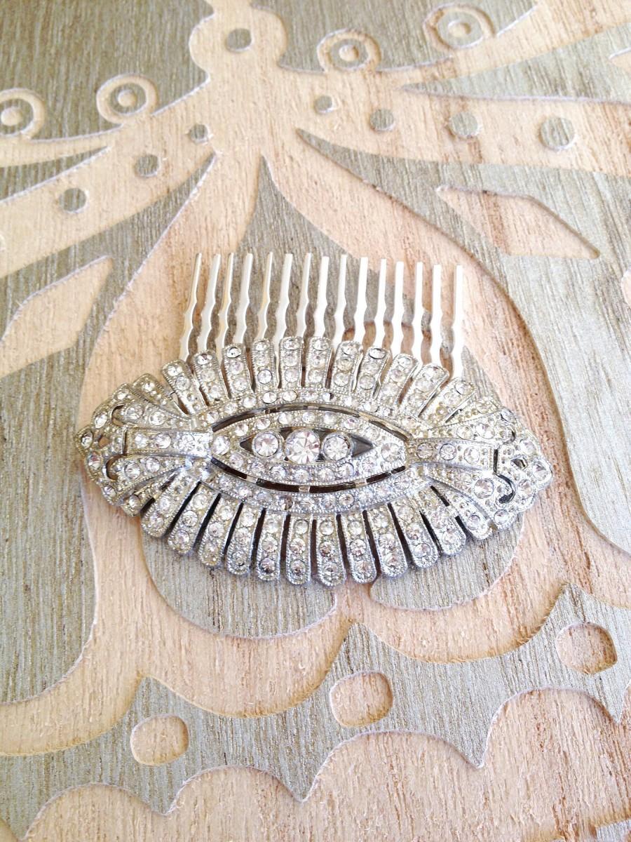 زفاف - Art Deco rhinestone hair comb, rhinestone, 1920s, weddings, rustic, bridal, jewelry, country, decorative, hair comb, Art Deco, hair slide