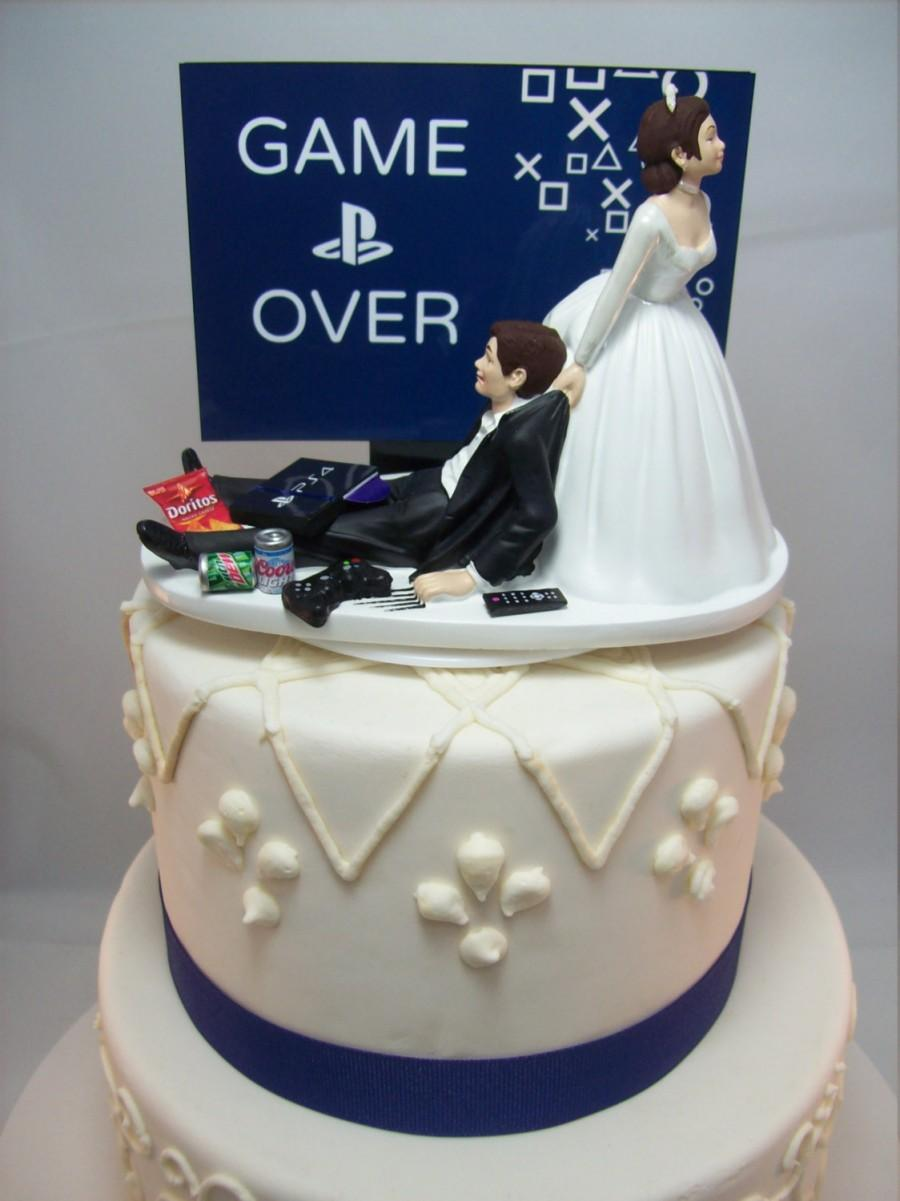 Over Playstation Funny Wedding Cake Topper Video Groom S Can Personalize Your Names R Gaming Junkie Brown Hair Awesome