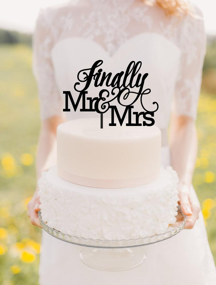 Hochzeit - Finally Wedding Cake Topper - Finally Mr & Mrs Cake Topper