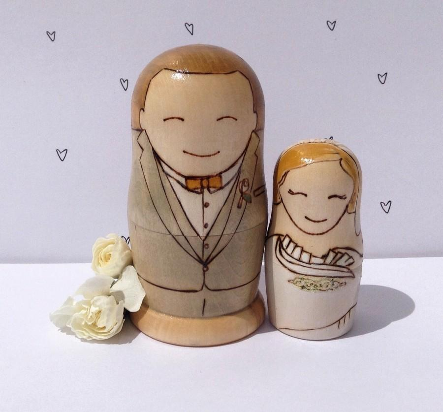 زفاف - Custom Wedding Cake Topper nesting matryoshka dolls