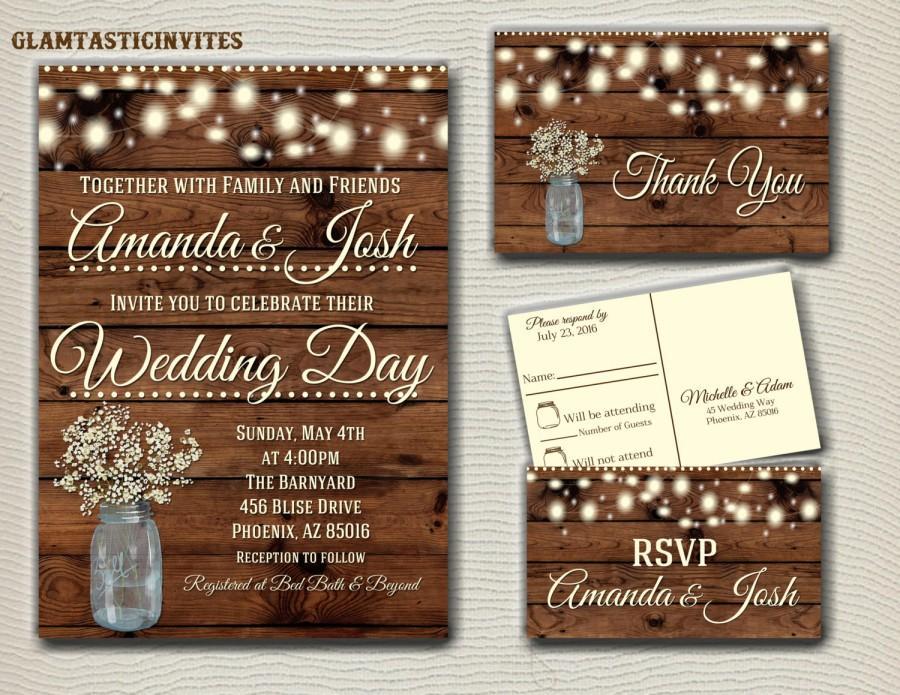 Свадьба - Rustic Wedding Invitation Printable, Country Wedding Invitation, Digital file, Printable, wedding invitation suite, Mason Jar Wedding