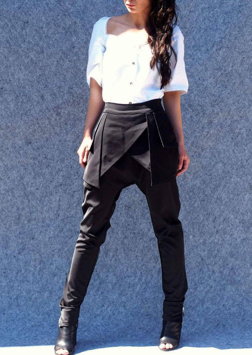 Свадьба - Black Drop crotch pants/HAREM PANTS/loose casual drop crotch pants/LOOSE pants/dropped pants/compfy pants/designer pants by Adrenaline