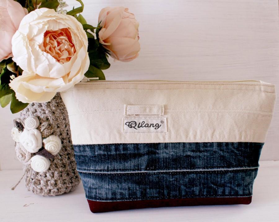 Свадьба - Blue Makeup Bag Beige - Travel Gifts for Women - Travel Cosmetic Bag -Jinse Makeup Storage Box - Makeup for Bag Storage - Makeup Brush Bag