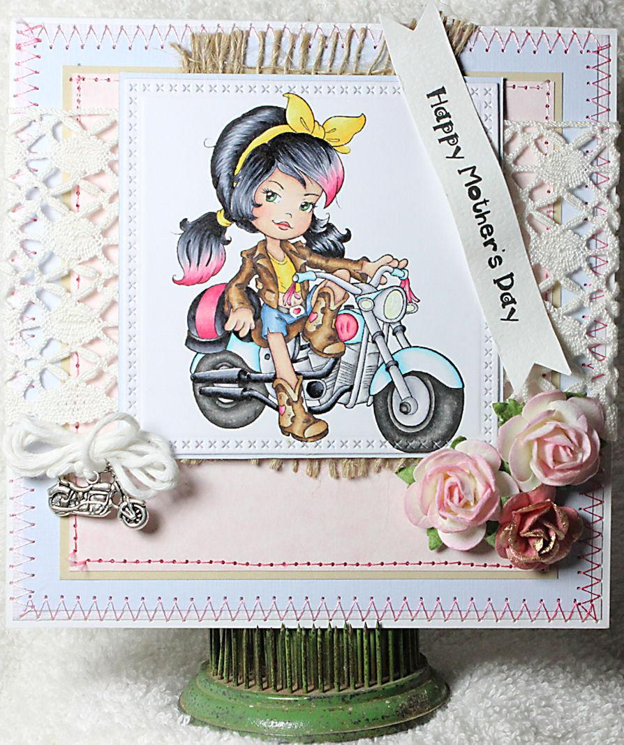 Wedding - Happy Mother's Day Biker Chick Babe Mom Mother Mum Motorcycle Parent Mothers Day Handmade Floral One of A Kind Unique Unusual Greeting Card