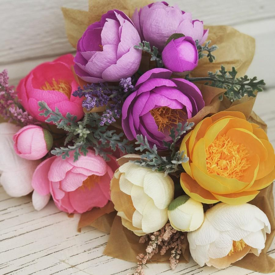 Crepe Paper Flowers Mothers Day Gift Wedding Bouquet