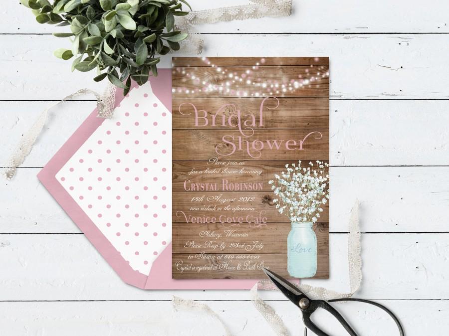 Свадьба - Mason Jar Wedding Shower Invitation, Rustic Bridal Shower Invitation Printable, Country Wedding Shower, String Lights & Pink Baby's Breath