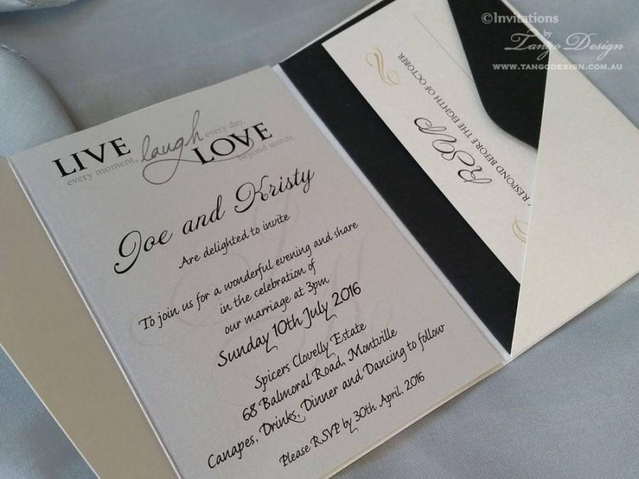 Modern Wedding Invitation A6 Pocketfold 25x Invites Rsvp Cards Envelopes 21st Birthday Elegant Sweet 16 Bar Mitzbah