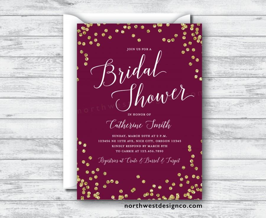 Свадьба - Maroon Gold Bridal Shower Invitation Burgundy Merlot Invite Purple Gold Bling Wedding Shower Invitation 5x7 Digital File or Printed Invites