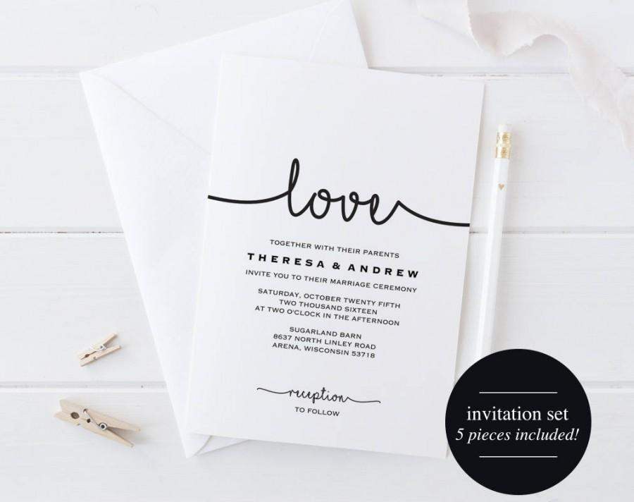 Свадьба - Wedding Invitation Printable, Wedding Invitation Set, Wedding Invitation Download, Wedding Invitation PDF, PDF Instant Download #BPB279_1