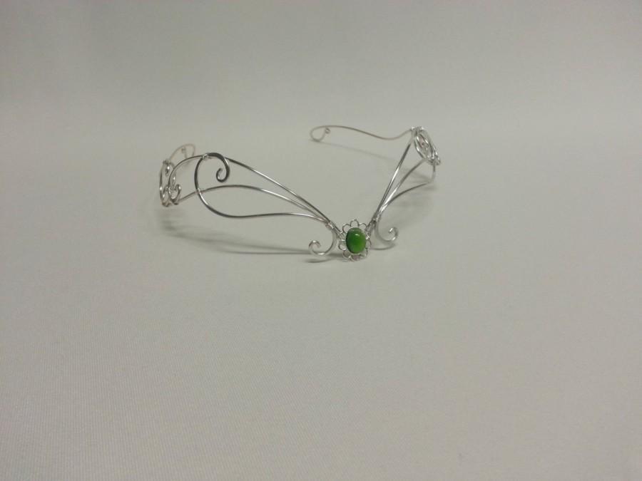 زفاف - medieval headpiece Green moonstone circlet tiara silver fantasy crown