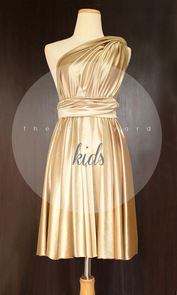Свадьба - KIDS Gold Bridesmaid Dress Convertible Dress Infinity Dress Multiway Dress Wrap Dress Twist Dress Flower Girl Dress