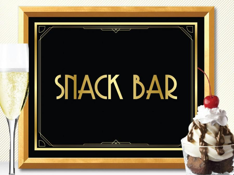 SNACK BAR Sign, Great Gatsby Snack Bar, Art Deco Snack Bar Sign ...