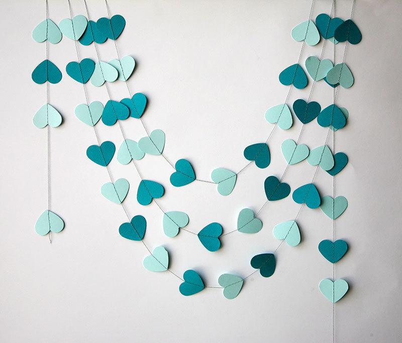Hochzeit - Teal wedding - Heart garland, Teal shades heart garland, Wedding decor, Valentines day decor, Paper garland, Purple wedding, KCO-3030, TB