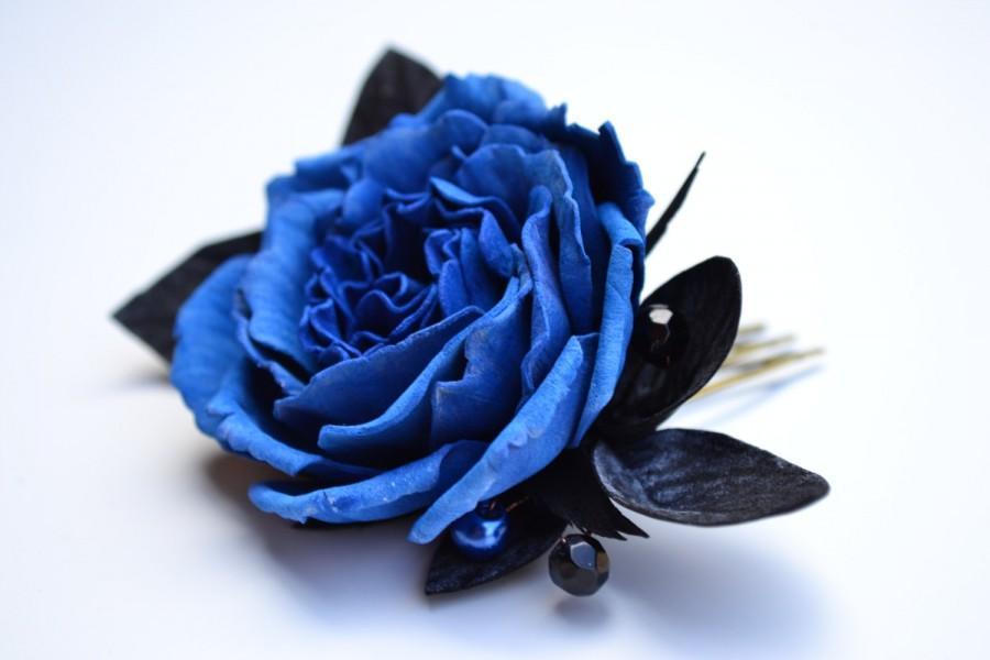Wedding - Navy blue black rose flower floral wedding bridal hair comb accessory. Blue hair comb wedding. Blue rose for bride