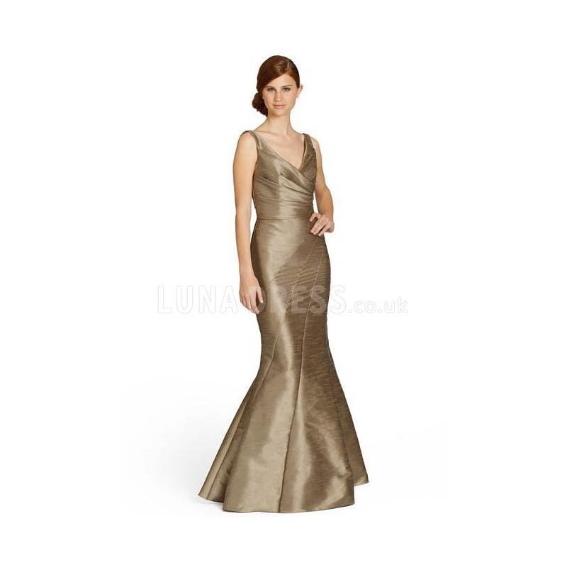 Свадьба - Backless Mermaid V Neck Floor Length Taffeta Natural Waist Bridesmaids - Compelling Wedding Dresses