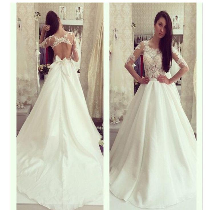 Hochzeit - Sexy Half Sleeveless Aline Open Back Lace Wedding Dresses, Bridal Gown, WD0132