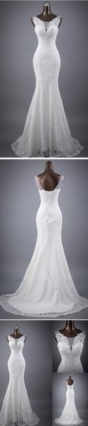 Wedding - Elegant Sleeveless Mermaid Lace Up Popular Lace Wedding Dresses, WD0142