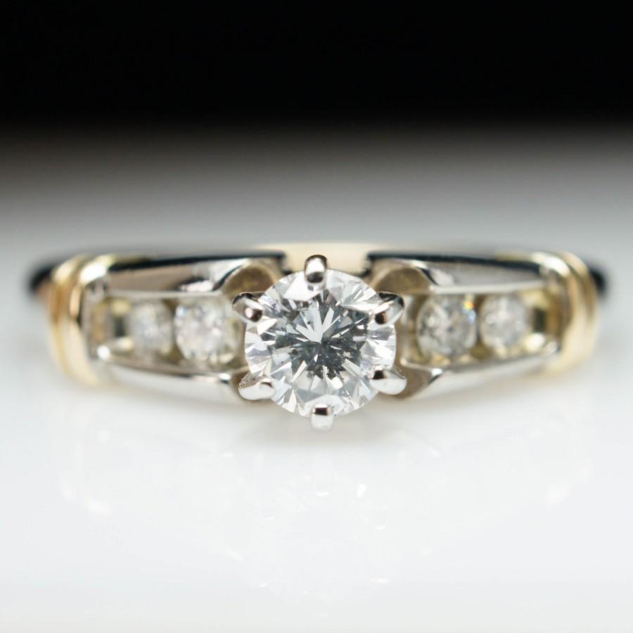 Unique Vintage Diamond Engagement Ring White & Yellow Gold