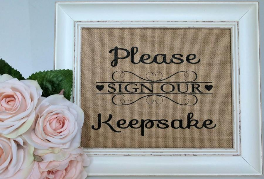 Mariage - Burlap Guestbook Sign - Wedding Guestbook Sign - Please Sign Our Keepsake - Rustic Wedding Sign - Please Sign Our Guestbook - Burlap Wedding