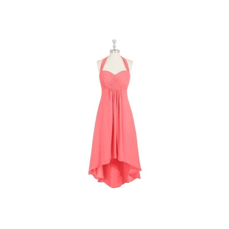 Wedding - Watermelon Azazie Annabel - Asymmetrical Halter Chiffon Back Zip Dress - Cheap Gorgeous Bridesmaids Store