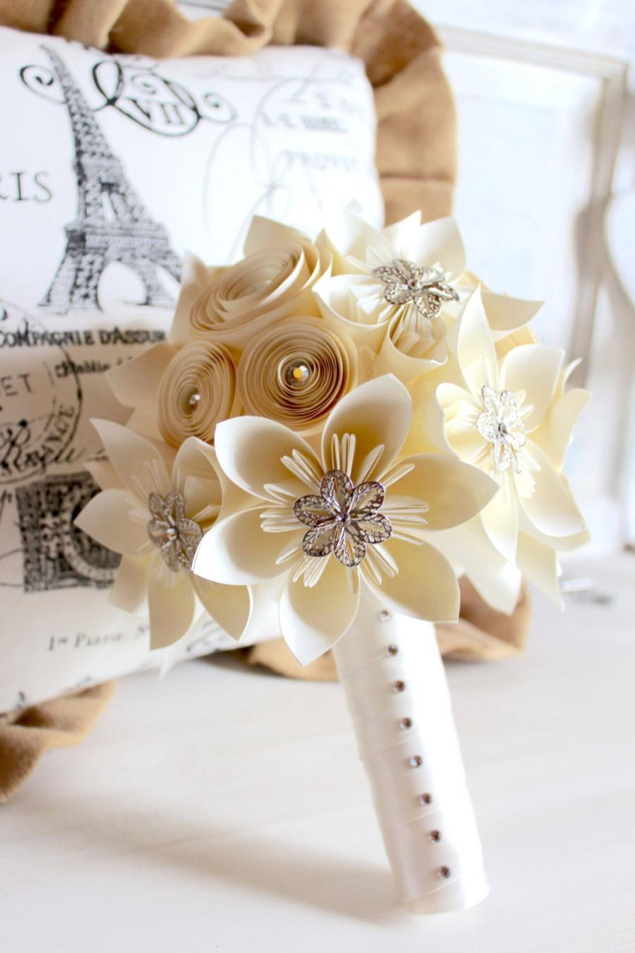 Mariage - Ivory Origami & Spiral Bouquet with Brooches and Swarovski Element Crystals