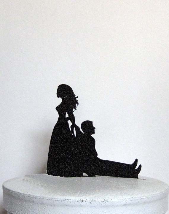 Свадьба - Funny and Unique Wedding Cake Topper - Bride Dragging Groom!