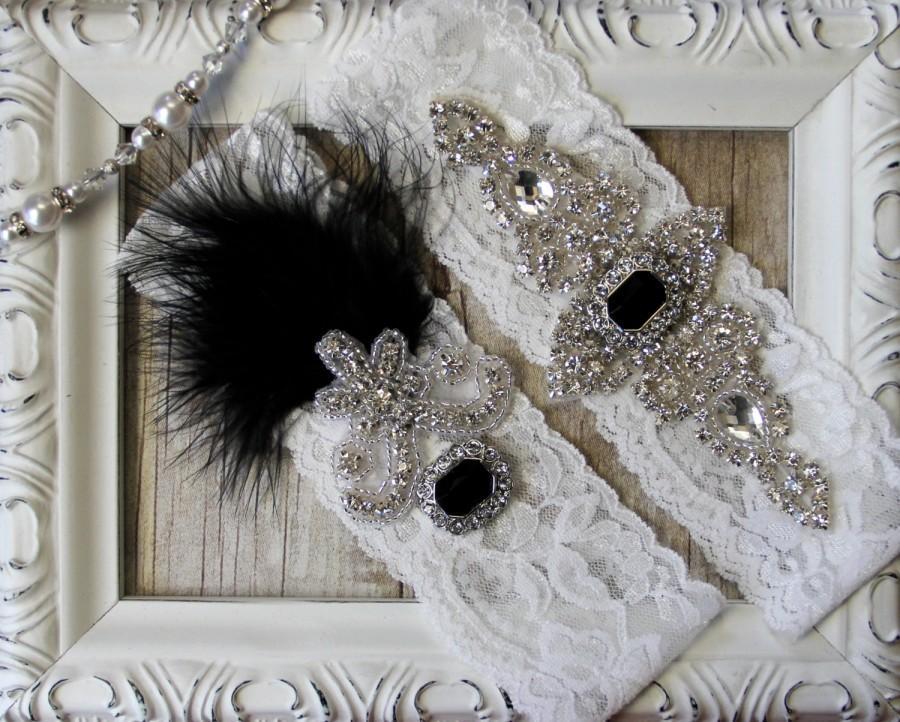 "Свадьба - Wedding garter - Vintage Garter Set w/ Black ""Onyx"" and Rhinestones on Comfortable Lace, Wedding Garter Set, Crystal Garter Set"