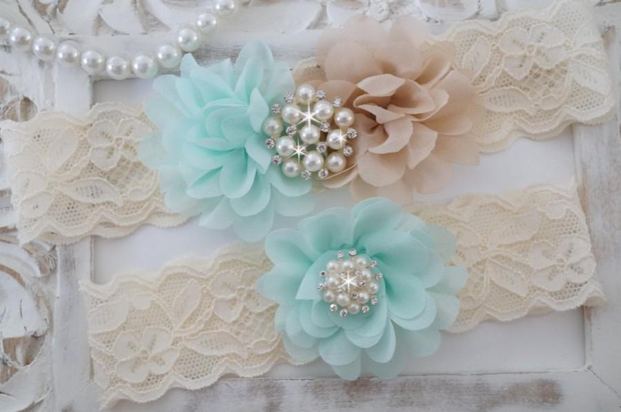 Свадьба - Wedding Garter, Bridal Garter Set - Lace Garter, Keepsake Garter, Country Garter, Chiffon Rosette -Style 810