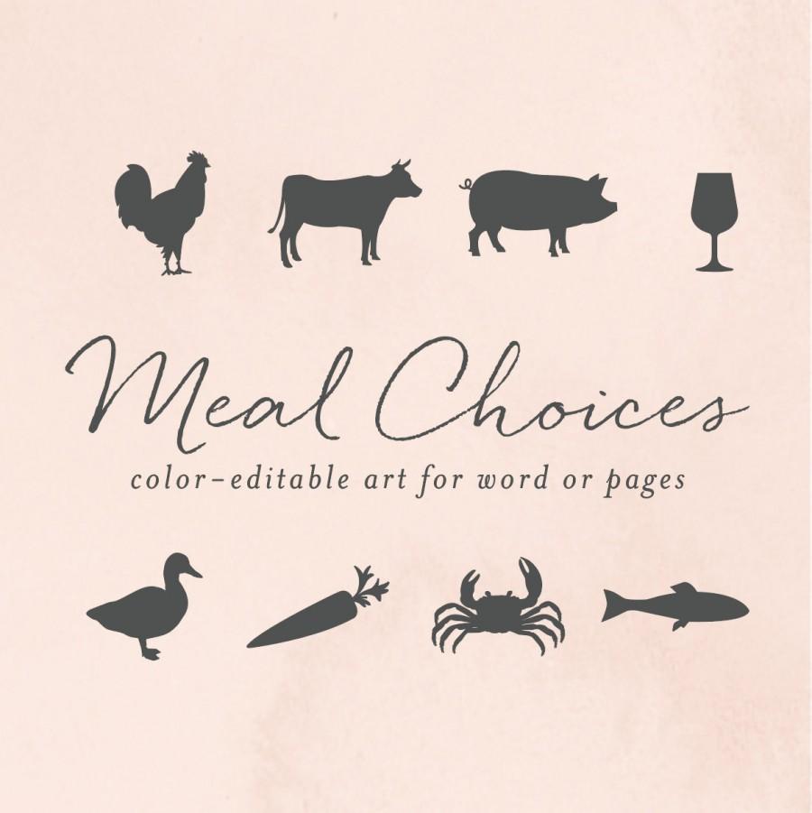 زفاف - RSVP Meal Choice Icons for Word or Pages, Chicken, Cow, Pig, Wine, Duck, Carrot, Crab, Fish