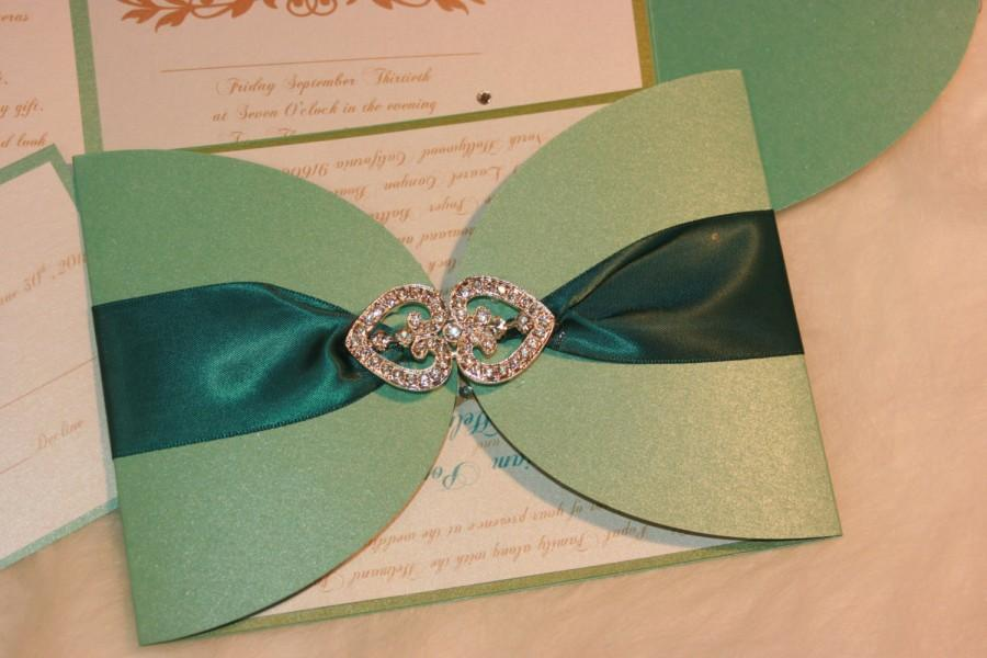 Свадьба - Elegance Wedding Invitation -Blue Invitation -Wedding Invitation -  Custom Invitation-