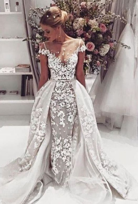 Lace Mermaid Wedding Dresses Lace Trim Elegant Bridal Gowns New ...