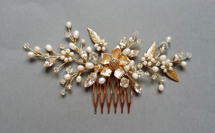 Mariage - Gold Bridal Crystal Comb, Freshwater pearl wedding gold comb, crystal gold comb, Crystal  comb,bridal gold comb, veil comb, floral comb