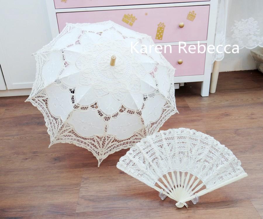 Mariage - Special Offer Battenburg Lace Vintage Umbrella Parasol with Fan For Bridal Bridesmaid Wedding
