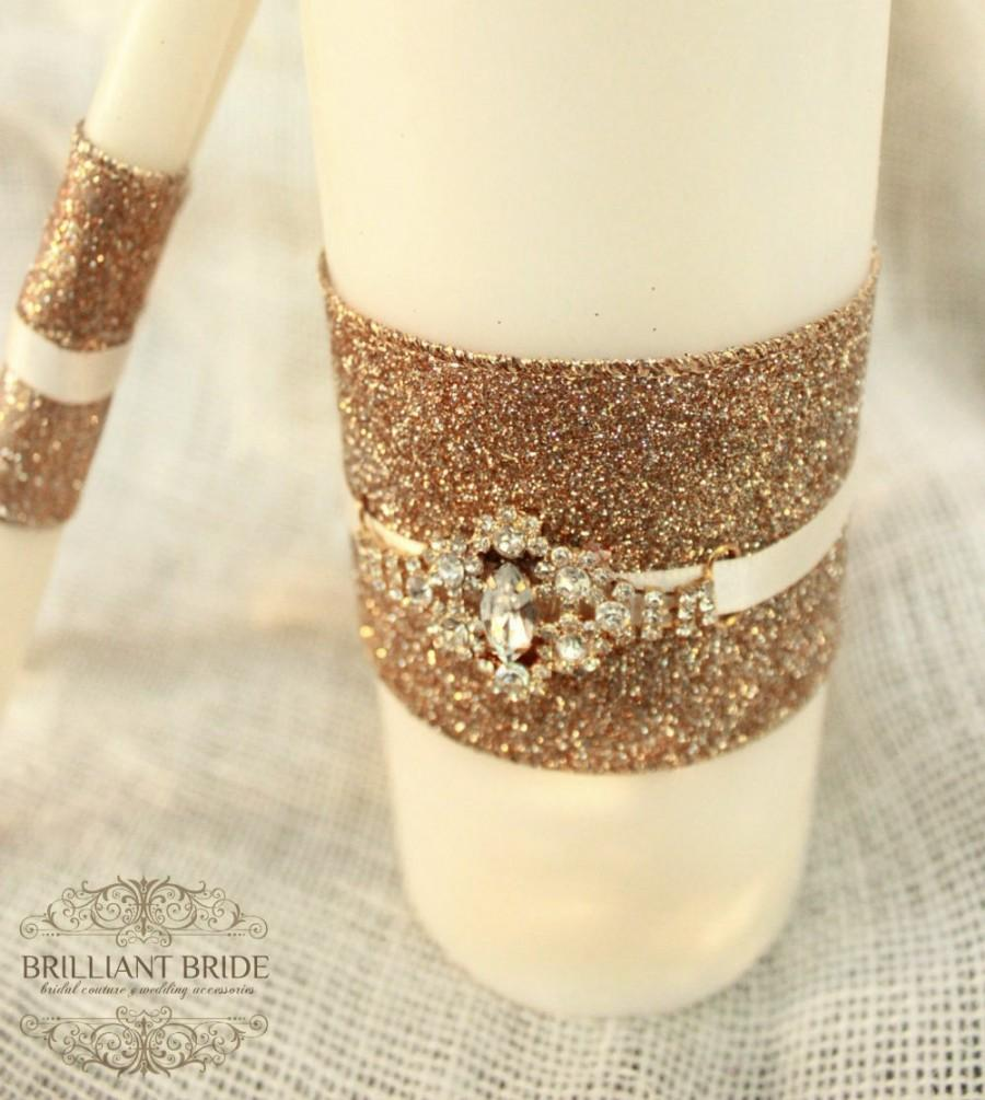 Свадьба - Gold Wedding Unity Candles white OR ivory - White Unity Candle W/ Gold Rhinestone unity candle set with lace and bling, candles for wedding