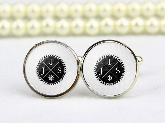 Golf Cufflinks, Nautical Anchor Monogram, Personalized Cuff Links ...