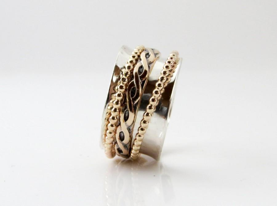 Wedding - Celtic Ring, Thumb Ring, Spinner Ring, Girlfriend Ring, Sterling Silver Band, Meditation Ring, Wedding Ring, Silver Gold Ring,