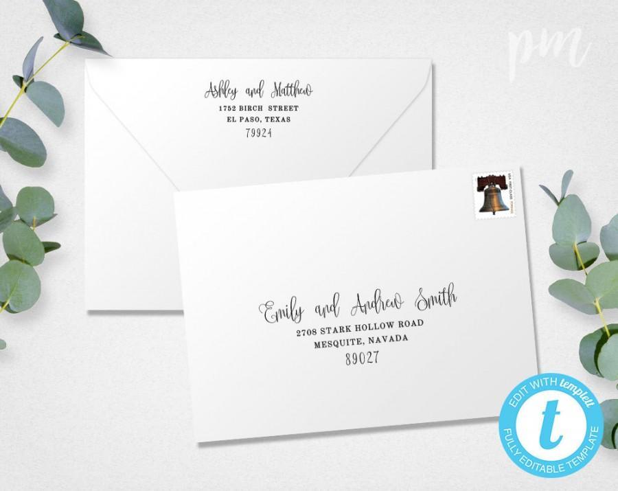 Свадьба - Wedding Envelope Template, Address Envelope Template, DIY Wedding Address Envelope, Printable Envelope, Instant Download