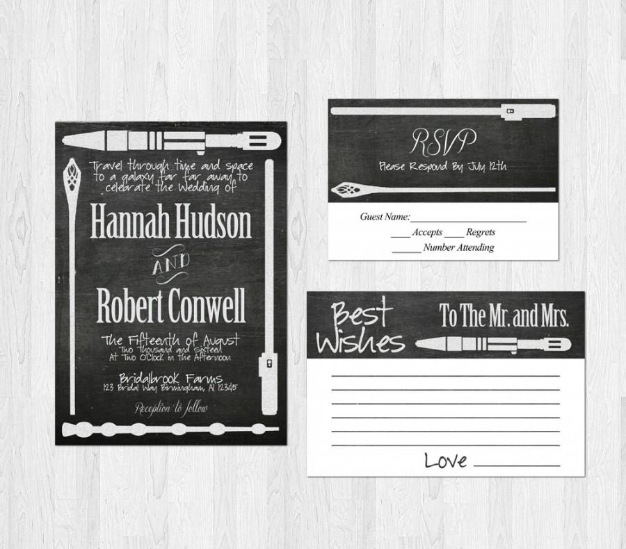 Свадьба - Sci-fi Weapon Wedding Invitation Suite - chalkboard star wars lord of the rings doctor who harry potter best wishes card rsvp bundle