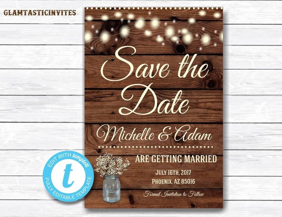 Mariage - Rustic Save-The-Dates, Printable Rustic Save the Date Postcard, Save the Date, Rustic Wedding, Printable Save the Date, Instant Download
