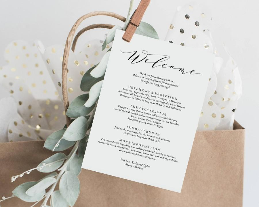 Свадьба - Editable Template - Instant Download Soft Calligraphy Wedding Weekend Welcome Itinerary