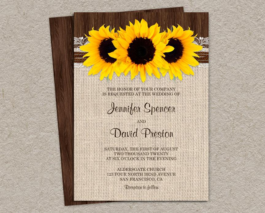 rustic sunflower wedding invitations with burlap and lace country