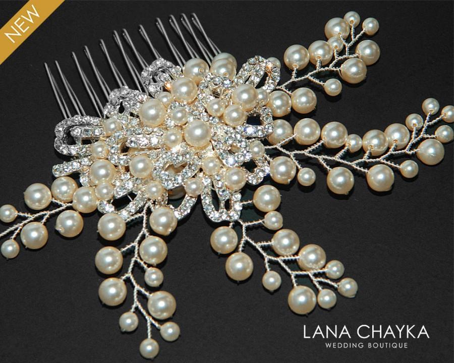 Wedding - Bridal Pearl Crystal Hair Comb Wedding Floral Hair Comb Swarovski Ivory Pearl Hair Piece Wedding Pearl Headpiece Bridal Pearl Hair Jewelry - $35.00 USD