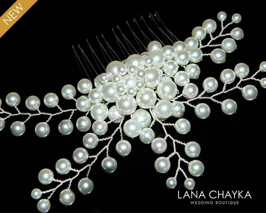 Nozze - White Pearl Bridal Hair Comb Swarovski Pearl Floral Hair Comb Wedding Pearl Hair Piece White Pearl Headpiece Hair Jewelry White Pearl Combs - $35.90 USD