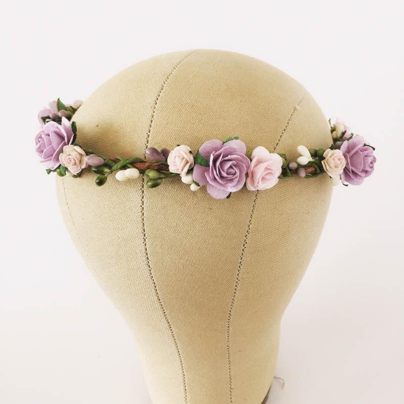 Свадьба - Lavender flower crown. Lavender and pink floral crown. Boho wedding crown. Floral crown. Flower headpieces. Bridesmaids headpieces.