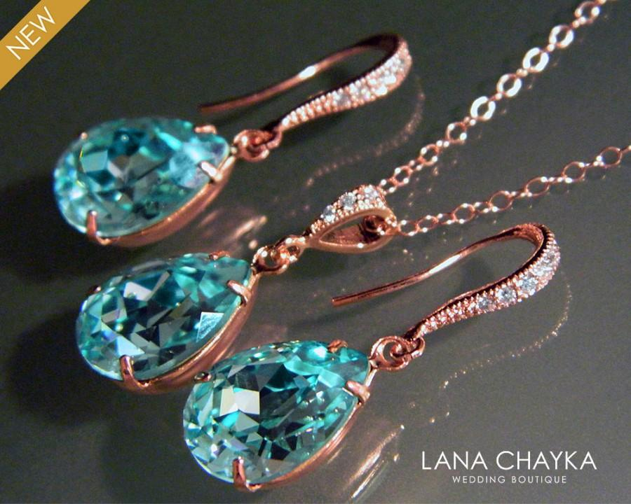 Light Turquoise Rose Gold Jewelry Set Teal Pink Earrings Necklace Bridal Swarovski Crystal Prom Bridesmaids 25 00 Usd