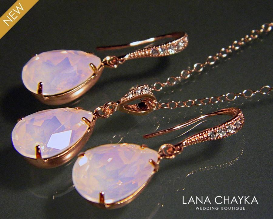 زفاف - Rose Water Opal Rose Gold Jewelry Set Light Pink Rose Gold Earrings&Necklace Set Swarovski Rose Opal Crystal Set Prom Jewelry Bridesmaids - $25.00 USD
