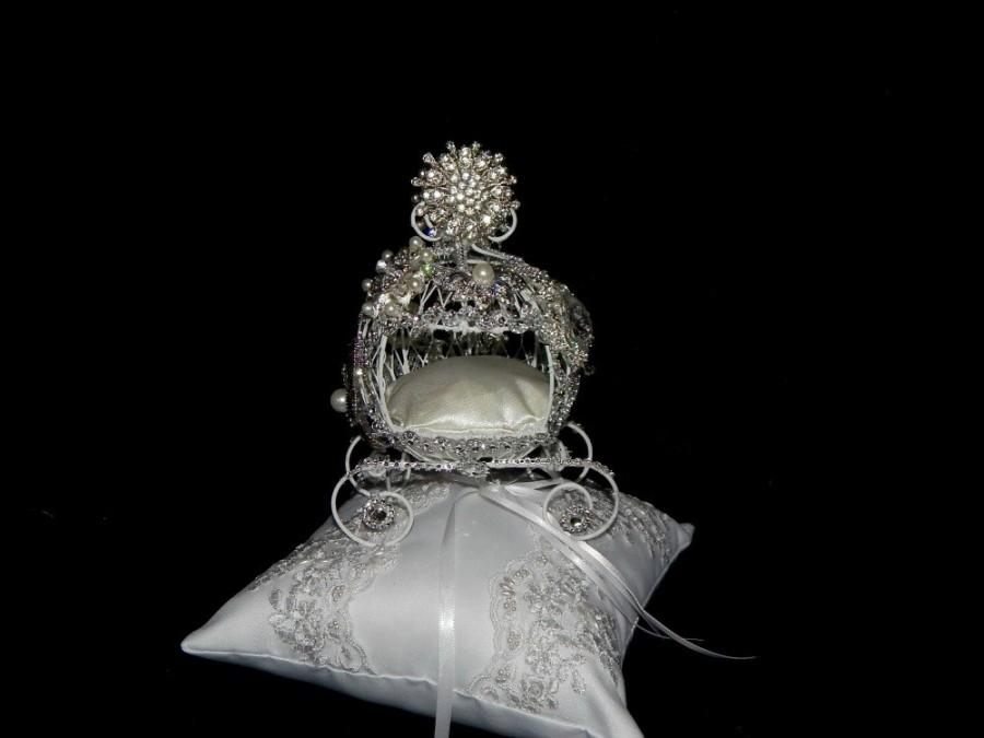 fairy tale cinderella carriage ring bearer pillow cake topper centerpiec themed bridal shower birthday quinceanera sweet 16