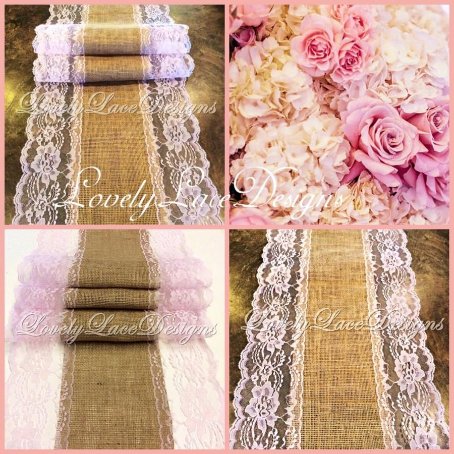 Свадьба - Burlap Lace Table Runner/blush Pink Lace/3ft-10ft longx 13in Wide/Wedding Decor/Tabletop Decor/Centerpiece/Weddings
